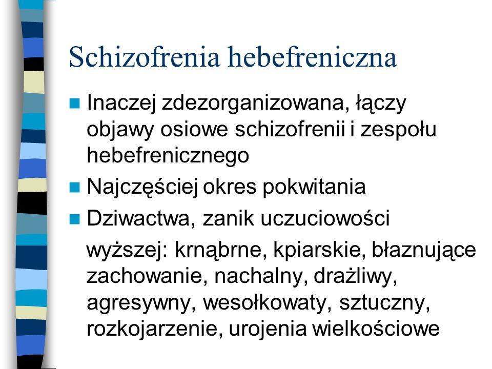 Schizofrenia hebefreniczna Inaczej zdezorganizowana, łączy objawy osiowe schizofrenii i zespołu hebefrenicznego Najczęściej okres pokwitania Dziwactwa