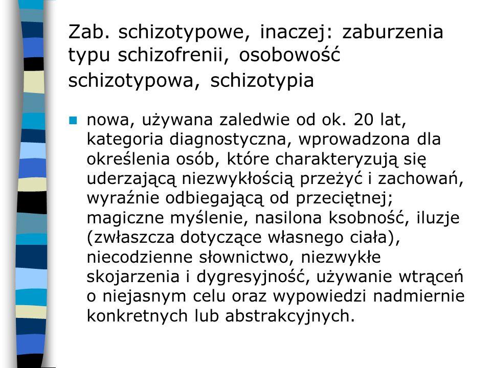Zab. schizotypowe, inaczej: zaburzenia typu schizofrenii, osobowość schizotypowa, schizotypia nowa, używana zaledwie od ok. 20 lat, kategoria diagnost