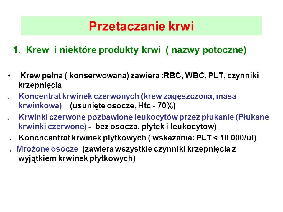1. Krew i niektóre produkty krwi ( nazwy potoczne) Krew pełna ( konserwowana) zawiera :RBC, WBC, PLT, czynniki krzepnięcia. Koncentrat krwinek czerwon