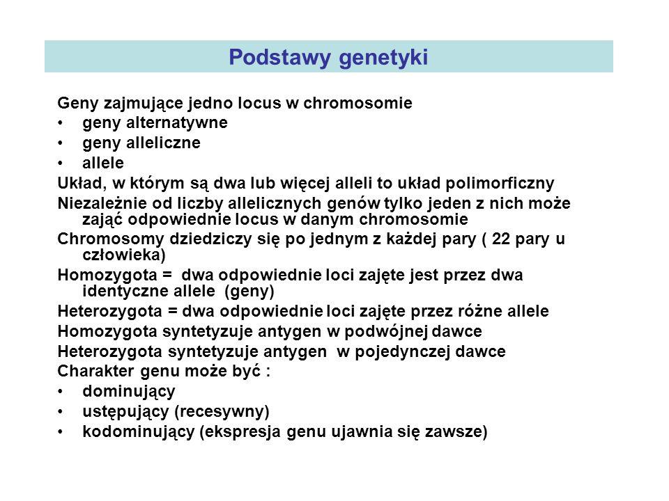 Podstawy genetyki Geny zajmujące jedno locus w chromosomie geny alternatywne geny alleliczne allele Układ, w którym są dwa lub więcej alleli to układ