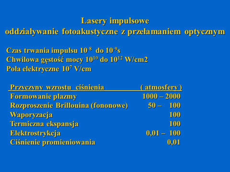 Lasery impulsowe oddziaływanie fotoakustyczne z przełamaniem optycznym Czas trwania impulsu 10 -8 do 10 -9 s Czas trwania impulsu 10 -8 do 10 -9 s Chw
