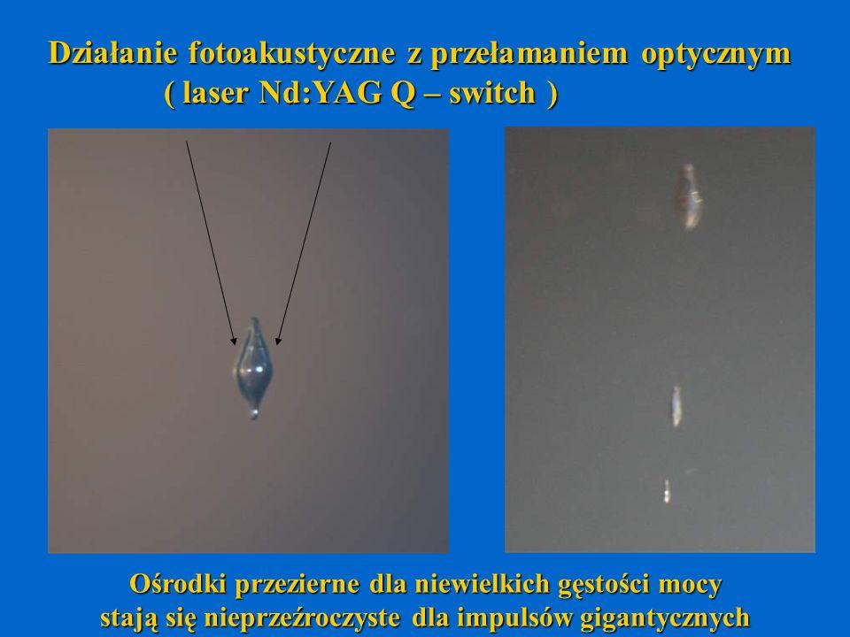 Działanie fotoakustyczne z przełamaniem optycznym ( laser Nd:YAG Q – switch ) ( laser Nd:YAG Q – switch ) Ośrodki przezierne dla niewielkich gęstości