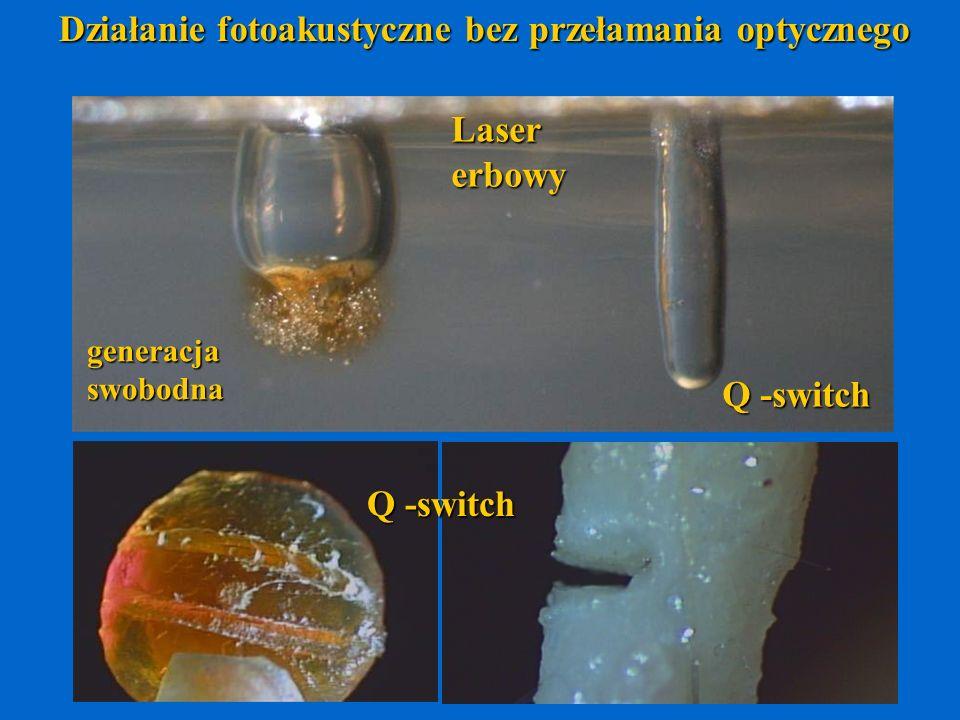 Działanie fotoakustyczne bez przełamania optycznego Lasererbowy generacjaswobodna Q -switch