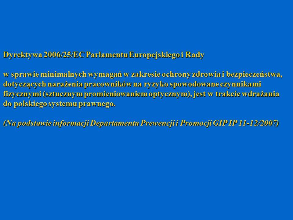 Dyrektywa 2006/25/EC Parlamentu Europejskiego i Rady w sprawie minimalnych wymagań w zakresie ochrony zdrowia i bezpieczeństwa, dotyczących narażenia