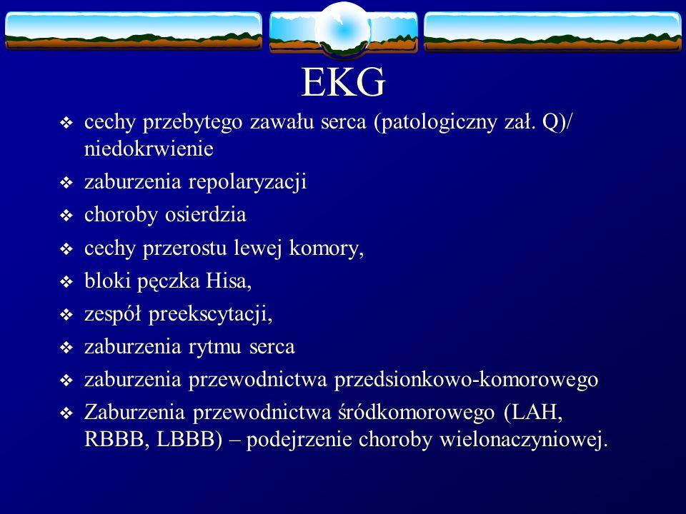 EKG  cechy przebytego zawału serca (patologiczny zał. Q)/ niedokrwienie  zaburzenia repolaryzacji  choroby osierdzia  cechy przerostu lewej komory