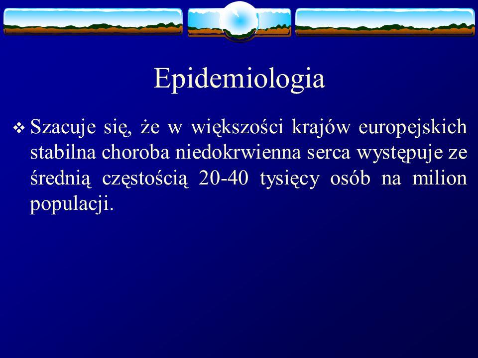 Epidemiologia  Szacuje się, że w większości krajów europejskich stabilna choroba niedokrwienna serca występuje ze średnią częstością 20-40 tysięcy os