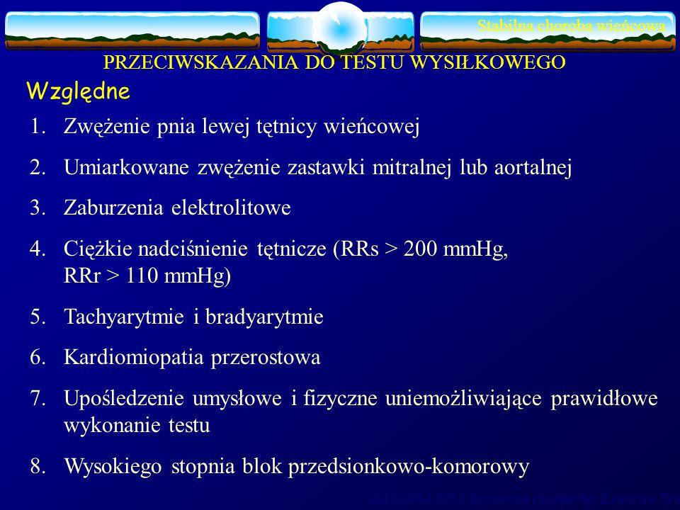 Stabilna choroba wieńcowa PRZECIWSKAZANIA DO TESTU WYSIŁKOWEGO Względne 1.Zwężenie pnia lewej tętnicy wieńcowej 2.Umiarkowane zwężenie zastawki mitral