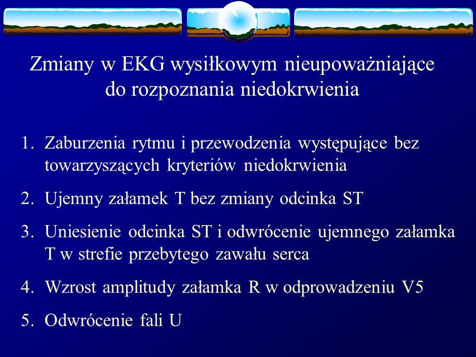 Zmiany w EKG wysiłkowym nieupoważniające do rozpoznania niedokrwienia 1.Zaburzenia rytmu i przewodzenia występujące bez towarzyszących kryteriów niedo