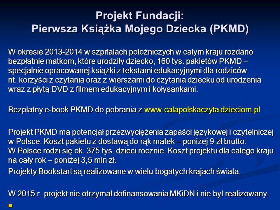 Projekt Fundacji: Pierwsza Książka Mojego Dziecka (PKMD) W okresie 2013-2014 w szpitalach położniczych w całym kraju rozdano bezpłatnie matkom, które urodziły dziecko, 160 tys.