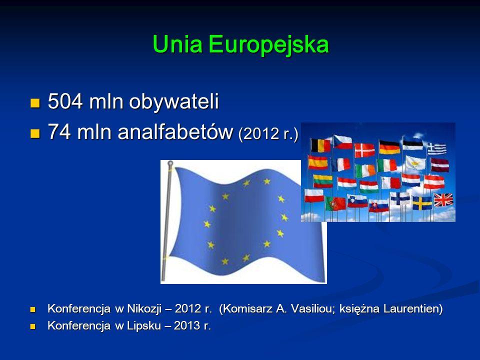 Unia Europejska 504 mln obywateli 504 mln obywateli 74 mln analfabetów (2012 r.) 74 mln analfabetów (2012 r.) Konferencja w Nikozji – 2012 r.