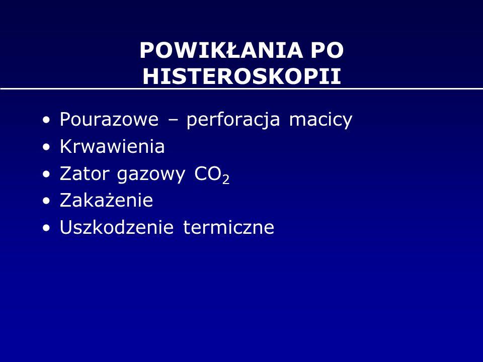 POWIKŁANIA PO HISTEROSKOPII Pourazowe – perforacja macicy Krwawienia Zator gazowy CO 2 Zakażenie Uszkodzenie termiczne