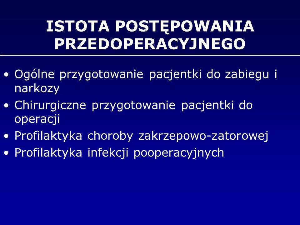 ISTOTA POSTĘPOWANIA PRZEDOPERACYJNEGO Ogólne przygotowanie pacjentki do zabiegu i narkozy Chirurgiczne przygotowanie pacjentki do operacji Profilaktyk