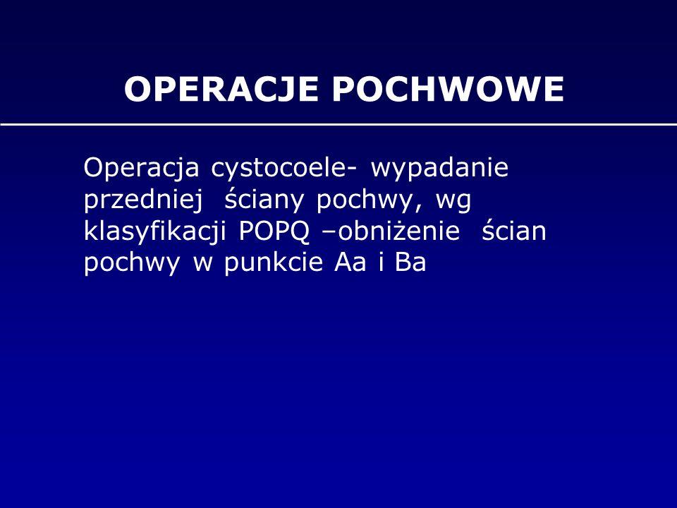 OPERACJE POCHWOWE Operacja cystocoele- wypadanie przedniej ściany pochwy, wg klasyfikacji POPQ –obniżenie ścian pochwy w punkcie Aa i Ba