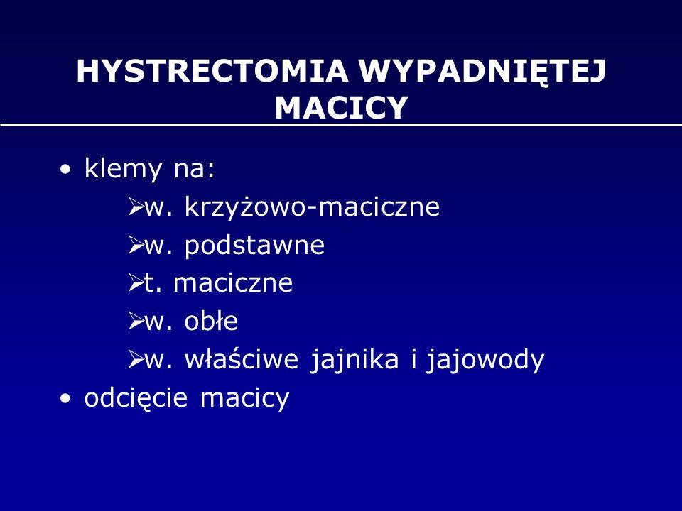 HYSTRECTOMIA WYPADNIĘTEJ MACICY klemy na:  w. krzyżowo-maciczne  w. podstawne  t. maciczne  w. obłe  w. właściwe jajnika i jajowody odcięcie maci