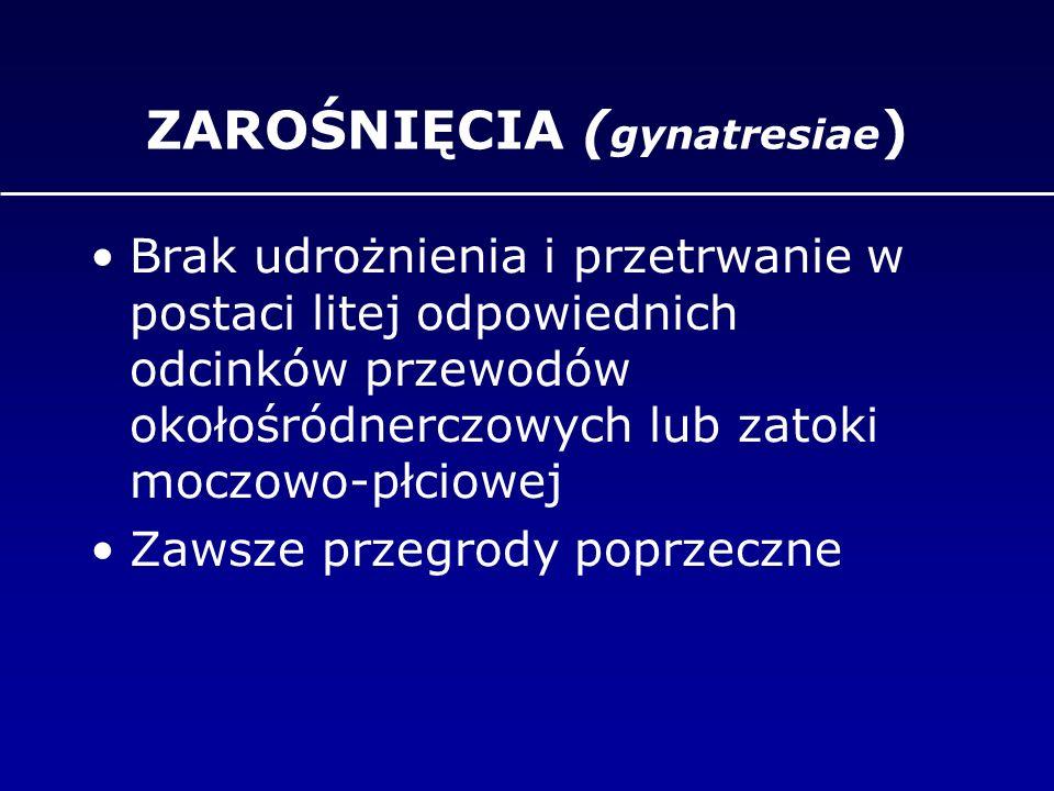 ZAROŚNIĘCIA ( gynatresiae ) Brak udrożnienia i przetrwanie w postaci litej odpowiednich odcinków przewodów okołośródnerczowych lub zatoki moczowo-płci