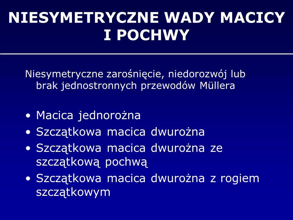 NIESYMETRYCZNE WADY MACICY I POCHWY Niesymetryczne zarośnięcie, niedorozwój lub brak jednostronnych przewodów Müllera Macica jednorożna Szczątkowa mac