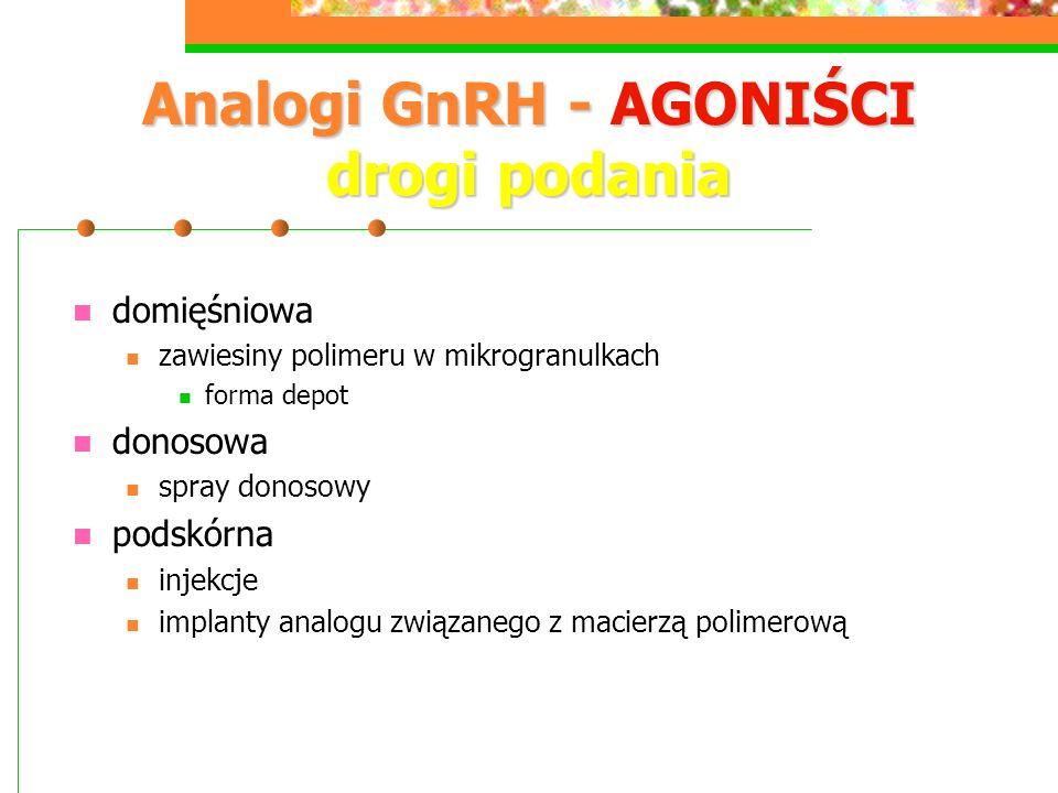Analogi GnRH - AGONIŚCI drogi podania domięśniowa zawiesiny polimeru w mikrogranulkach forma depot donosowa spray donosowy podskórna injekcje implanty analogu związanego z macierzą polimerową