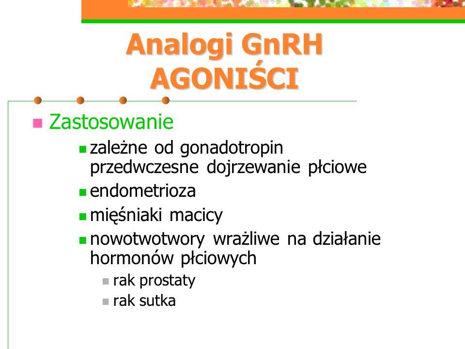 Analogi GnRH AGONIŚCI Zastosowanie zależne od gonadotropin przedwczesne dojrzewanie płciowe endometrioza mięśniaki macicy nowotwotwory wrażliwe na działanie hormonów płciowych rak prostaty rak sutka