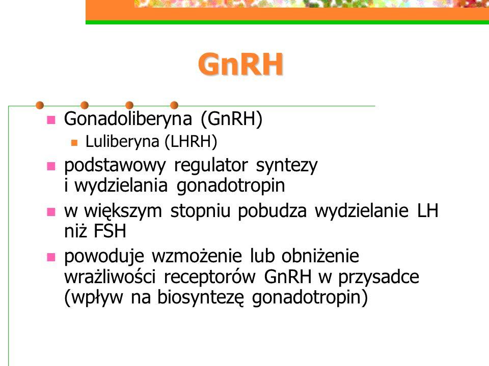 GnRH GnRH Gonadoliberyna (GnRH) Luliberyna (LHRH) podstawowy regulator syntezy i wydzielania gonadotropin w większym stopniu pobudza wydzielanie LH niż FSH powoduje wzmożenie lub obniżenie wrażliwości receptorów GnRH w przysadce (wpływ na biosyntezę gonadotropin)