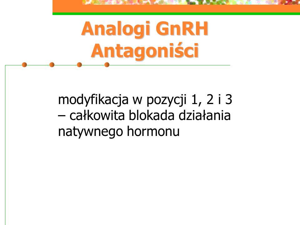 Analogi GnRH Antagoniści modyfikacja w pozycji 1, 2 i 3 – całkowita blokada działania natywnego hormonu