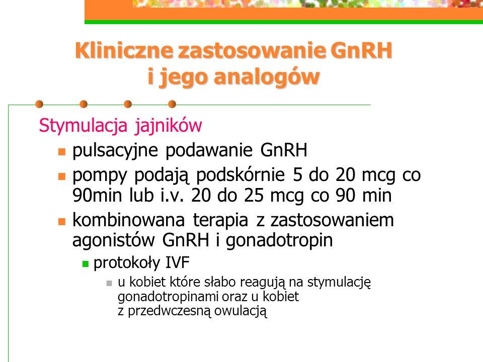 Kliniczne zastosowanie GnRH i jego analogów Stymulacja jajników pulsacyjne podawanie GnRH pompy podają podskórnie 5 do 20 mcg co 90min lub i.v. 20 do