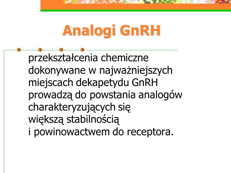 Analogi GnRH przekształcenia chemiczne dokonywane w najważniejszych miejscach dekapetydu GnRH prowadzą do powstania analogów charakteryzujących się większą stabilnością i powinowactwem do receptora.