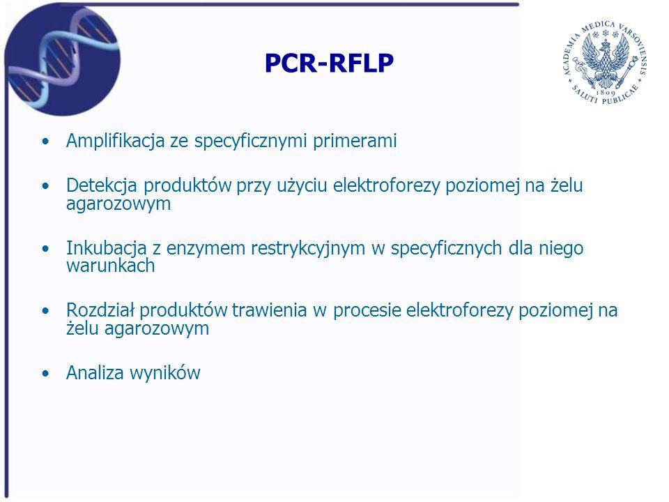PCR-RFLP Amplifikacja ze specyficznymi primerami Detekcja produktów przy użyciu elektroforezy poziomej na żelu agarozowym Inkubacja z enzymem restrykc