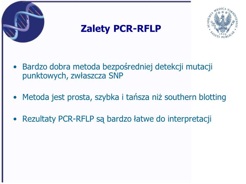 Zalety PCR-RFLP Bardzo dobra metoda bezpośredniej detekcji mutacji punktowych, zwłaszcza SNP Metoda jest prosta, szybka i tańsza niż southern blotting