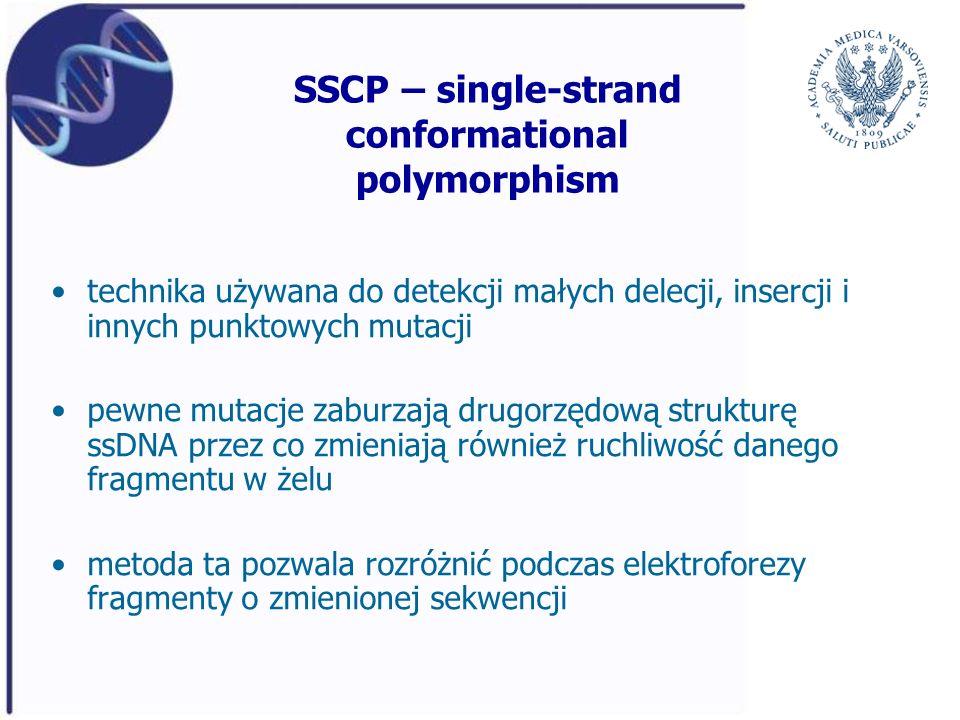 SSCP – single-strand conformational polymorphism technika używana do detekcji małych delecji, insercji i innych punktowych mutacji pewne mutacje zabur