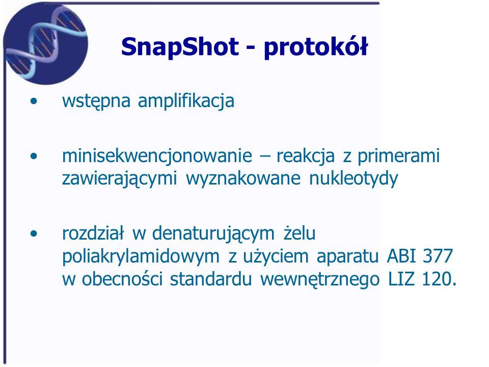 SnapShot - protokół wstępna amplifikacja minisekwencjonowanie – reakcja z primerami zawierającymi wyznakowane nukleotydy rozdział w denaturującym żelu