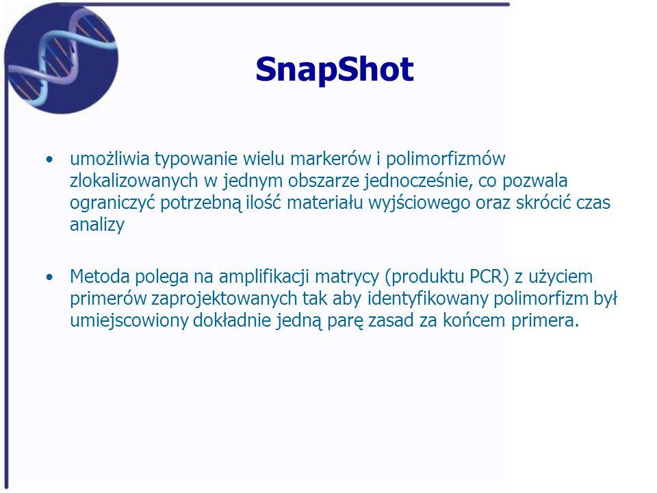 SnapShot umożliwia typowanie wielu markerów i polimorfizmów zlokalizowanych w jednym obszarze jednocześnie, co pozwala ograniczyć potrzebną ilość mate