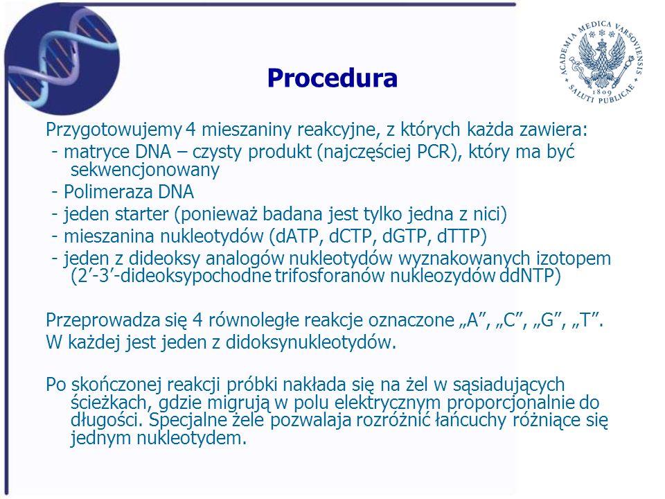 Procedura Przygotowujemy 4 mieszaniny reakcyjne, z których każda zawiera: - matryce DNA – czysty produkt (najczęściej PCR), który ma być sekwencjonowa