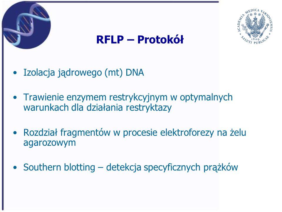 RFLP – Protokół Izolacja jądrowego (mt) DNA Trawienie enzymem restrykcyjnym w optymalnych warunkach dla działania restryktazy Rozdział fragmentów w pr