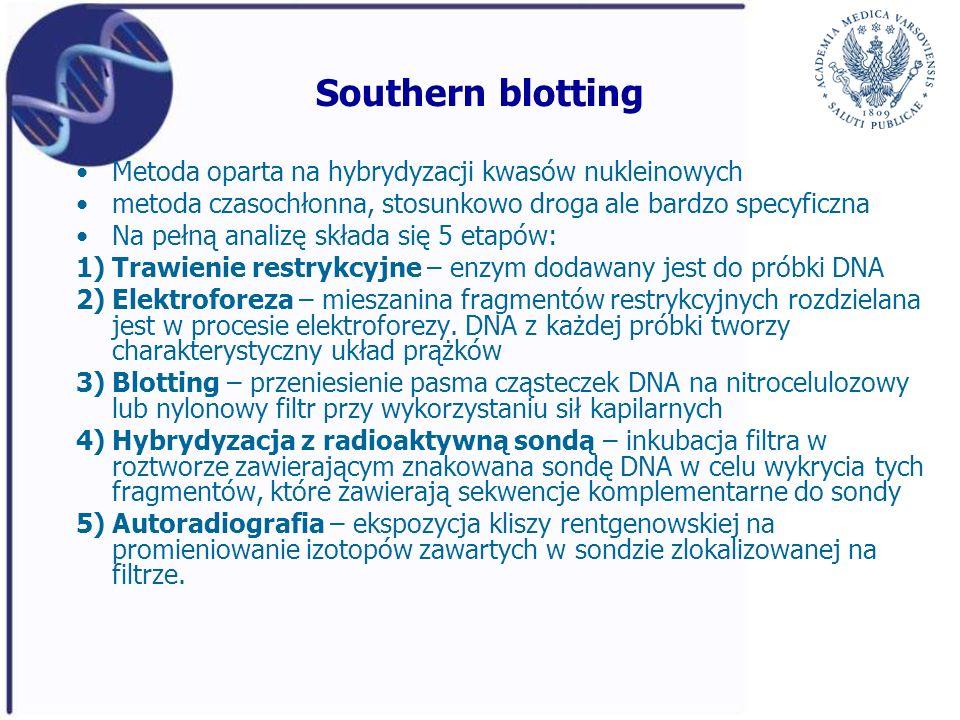 Southern blotting Metoda oparta na hybrydyzacji kwasów nukleinowych metoda czasochłonna, stosunkowo droga ale bardzo specyficzna Na pełną analizę skła