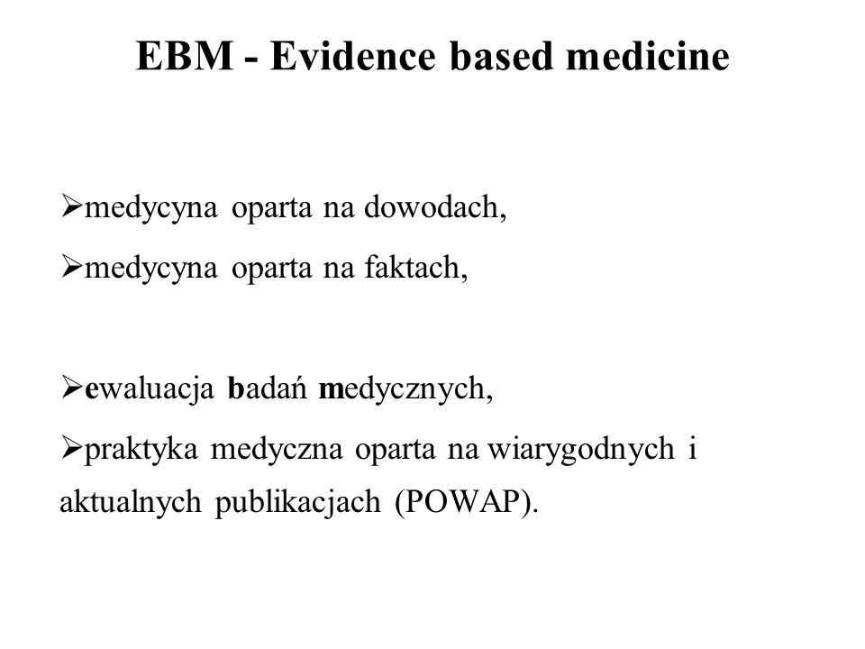 EBM – Podstawowe pojęcia  RCT (Randomized Controlled Trial),  Kontrola  Placebo  Przegląd systematyczny,  Metaanaliza,  Randomizacja,  ITT (analiza ITT, intention-to-treat analysis),  Cl (confidence interval, przedział ufności),  HR (hazard ratio, hazard względny),  OR (odds ratio, iloraz szans).