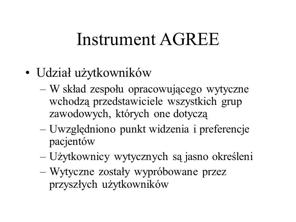 Instrument AGREE Udział użytkowników –W skład zespołu opracowującego wytyczne wchodzą przedstawiciele wszystkich grup zawodowych, których one dotyczą
