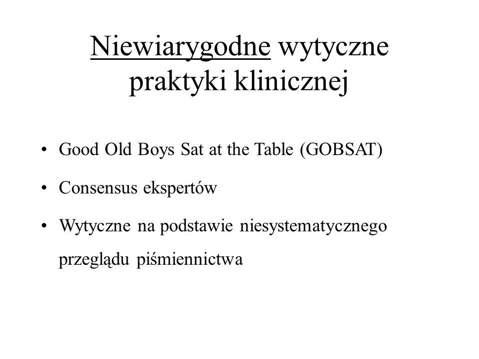 Niewiarygodne wytyczne praktyki klinicznej Good Old Boys Sat at the Table (GOBSAT) Consensus ekspertów Wytyczne na podstawie niesystematycznego przegl