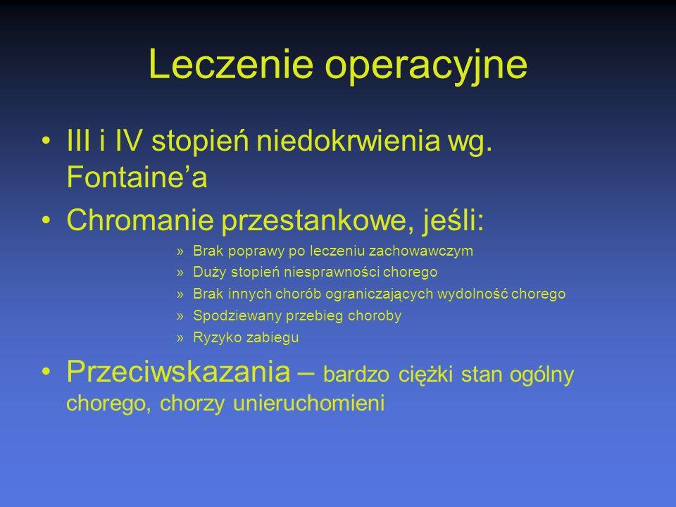 Leczenie operacyjne III i IV stopień niedokrwienia wg. Fontaine'a Chromanie przestankowe, jeśli: »Brak poprawy po leczeniu zachowawczym »Duży stopień