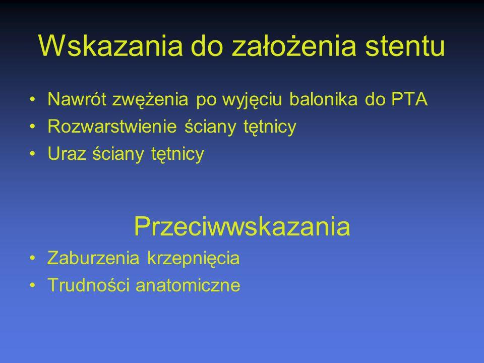 Wskazania do założenia stentu Nawrót zwężenia po wyjęciu balonika do PTA Rozwarstwienie ściany tętnicy Uraz ściany tętnicy Przeciwwskazania Zaburzenia