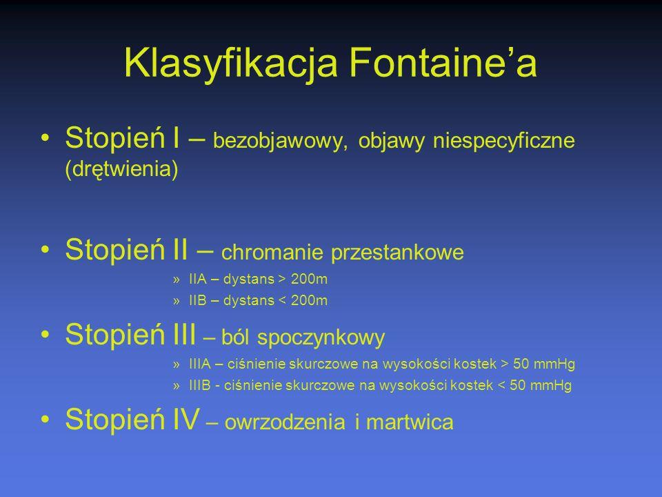 Klasyfikacja Fontaine'a Stopień I – bezobjawowy, objawy niespecyficzne (drętwienia) Stopień II – chromanie przestankowe »IIA – dystans > 200m »IIB – d