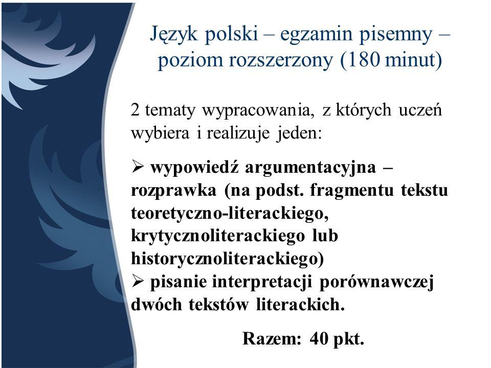 Język polski – część ustna Podczas egzaminu w sali może przebywać jeden zdający i jeden przygotowujący się do egzaminu.