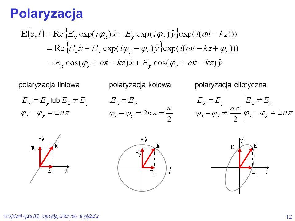 Wojciech Gawlik - Optyka, 2005/06. wykład 212 polaryzacja liniowapolaryzacja kołowapolaryzacja eliptyczna lub Polaryzacja