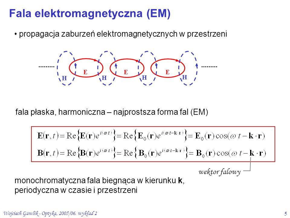 Wojciech Gawlik - Optyka, 2005/06. wykład 25 propagacja zaburzeń elektromagnetycznych w przestrzeni H H H H EEE fala płaska, harmoniczna – najprostsza