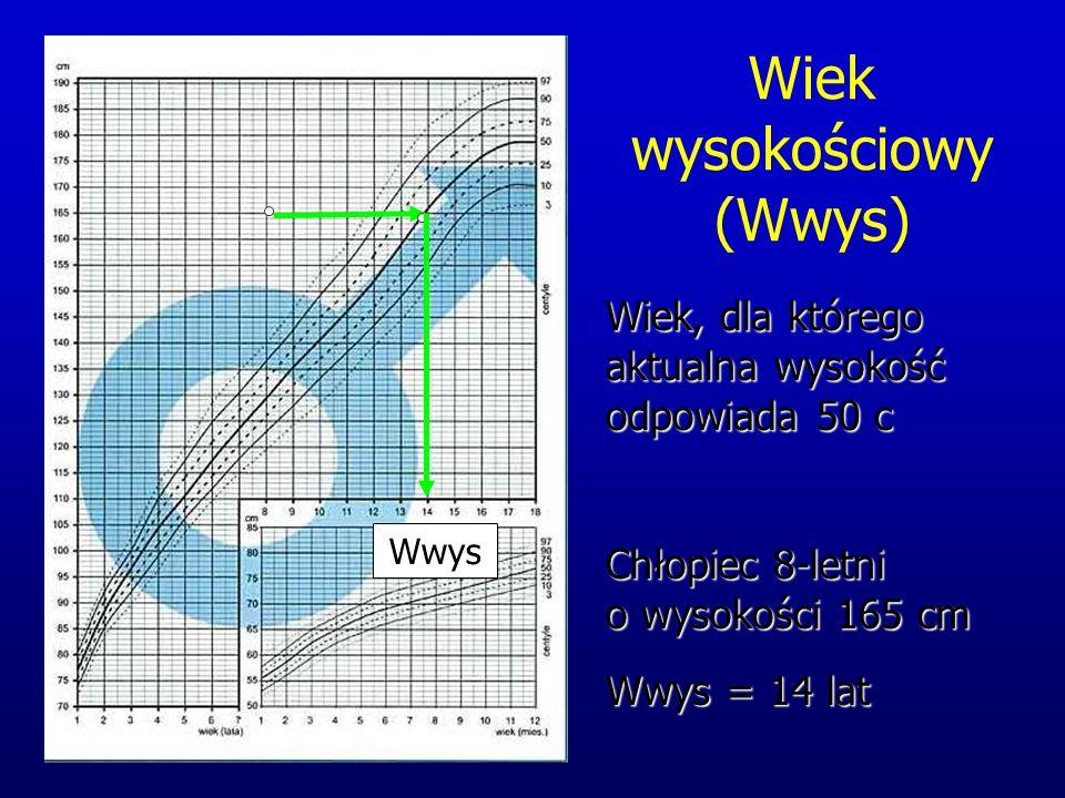 Wiek wysokościowy (Wwys) Chłopiec 8-letni o wysokości 165 cm Wwys = 14 lat Wiek, dla którego aktualna wysokość odpowiada 50 c Wwys