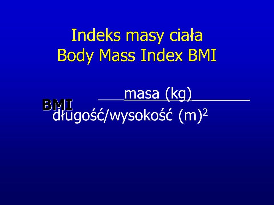 Indeks masy ciała Body Mass Index BMI ____ masa (kg)_______ długość/wysokość (m) 2BMI