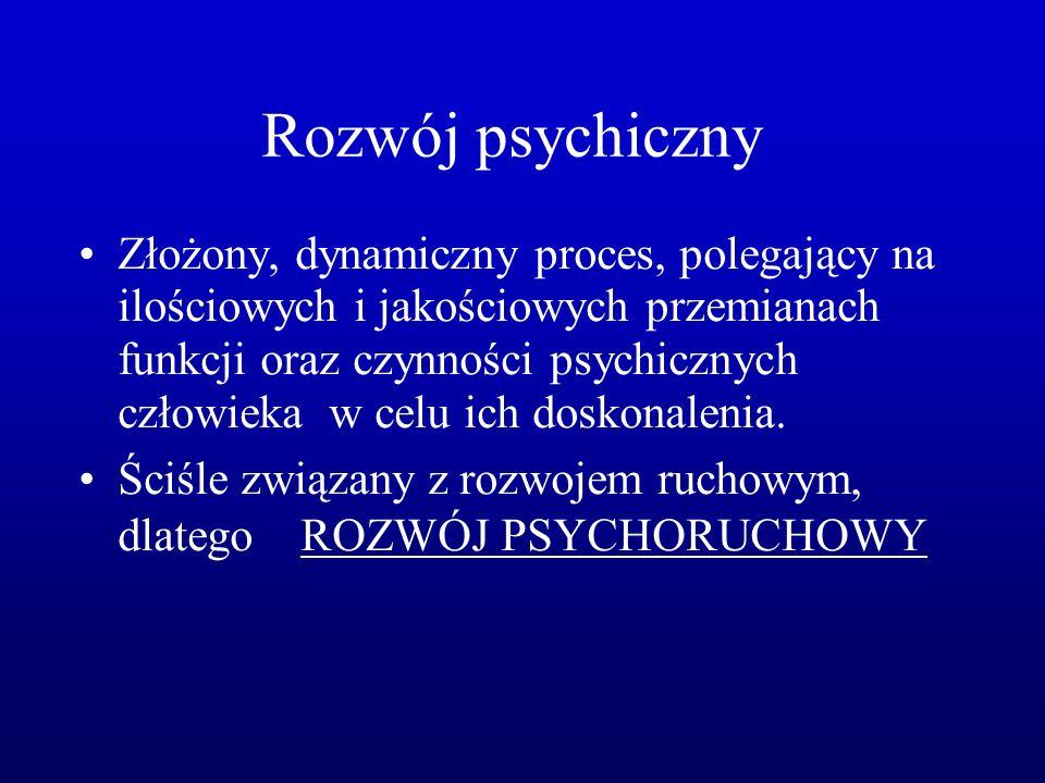 Rozwój psychiczny Złożony, dynamiczny proces, polegający na ilościowych i jakościowych przemianach funkcji oraz czynności psychicznych człowieka w celu ich doskonalenia.