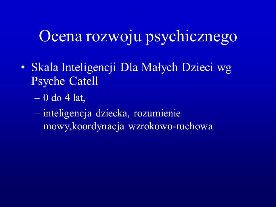 Ocena rozwoju psychicznego Skala Inteligencji Dla Małych Dzieci wg Psyche Catell –0 do 4 lat, –inteligencja dziecka, rozumienie mowy,koordynacja wzrokowo-ruchowa