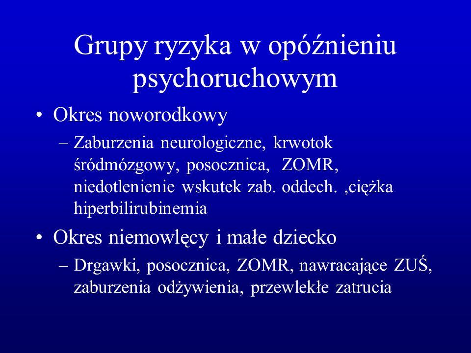 Grupy ryzyka w opóźnieniu psychoruchowym Okres noworodkowy –Zaburzenia neurologiczne, krwotok śródmózgowy, posocznica, ZOMR, niedotlenienie wskutek za
