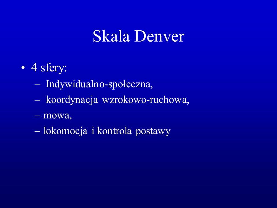 Skala Denver 4 sfery: – Indywidualno-społeczna, – koordynacja wzrokowo-ruchowa, –mowa, –lokomocja i kontrola postawy