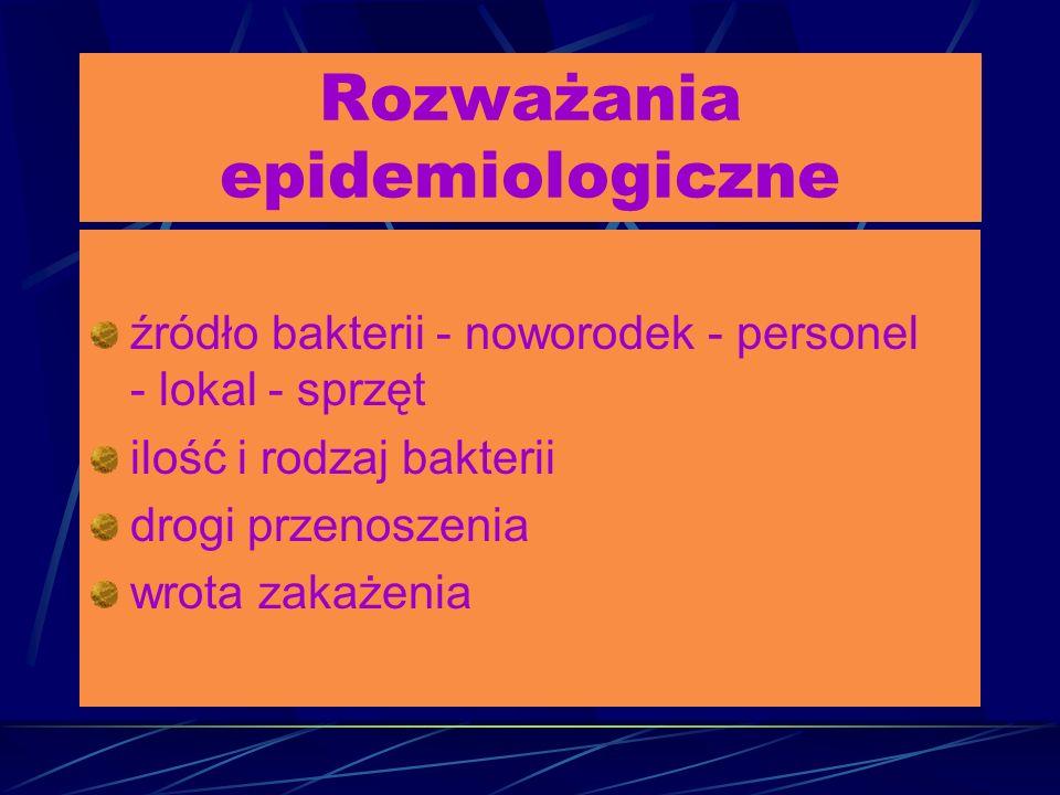 Rozważania epidemiologiczne źródło bakterii - noworodek - personel - lokal - sprzęt ilość i rodzaj bakterii drogi przenoszenia wrota zakażenia